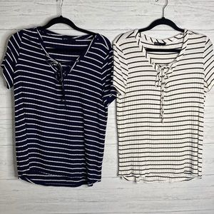 2 Gibson striped t shirts